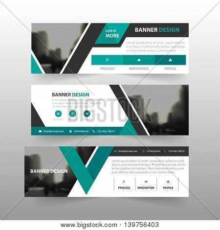 Green black triangle corporate business banner template horizontal advertising business banner layout template flat design set clean abstract cover header background for website design