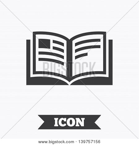 Book sign icon. Open book symbol. Graphic design element. Flat book symbol on white background. Vector
