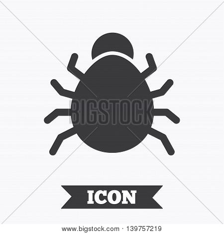 Bug sign icon. Virus symbol. Software bug error. Disinfection. Graphic design element. Flat bug symbol on white background. Vector