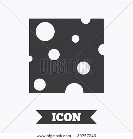 Cheese sign icon. Slice of cheese symbol. Square cheese with holes. Graphic design element. Flat cheese symbol on white background. Vector