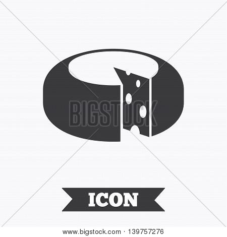 Cheese wheel sign icon. Sliced cheese symbol. Round cheese with holes. Graphic design element. Flat cheese symbol on white background. Vector