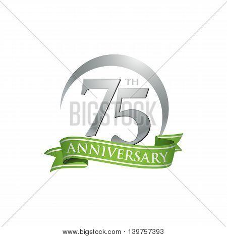 75th anniversary green logo template. Creative design. Business success