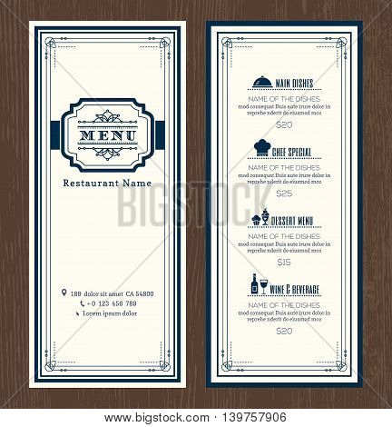 Restaurant or cafe menu vector design template with vintage retro art deco frame style