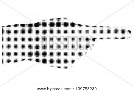 Halftone textured male hand pointing isolated on white background