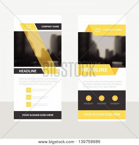 Yellow Business Roll Up Banner flat design template Abstract Geometric banner template Vector illustration set abstract presentation brochure flyer template vertical template vector