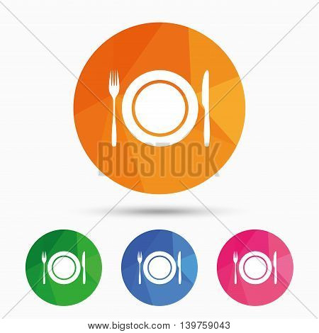 Plate dish with fork and knife. Eat sign icon. Cutlery etiquette rules symbol. Triangular low poly button with flat icon. Vector