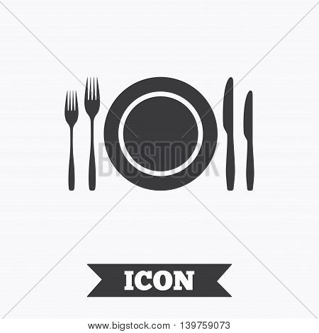 Plate dish with forks and knifes. Eat sign icon. Cutlery etiquette rules symbol. Graphic design element. Flat cutlery symbol on white background. Vector