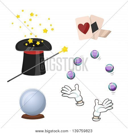 Set of magic trick elements. Wizard and magic tricks icons. Magic playing cards, magic hat and other magic icons. Cartoon magic tools isolated on white background. Magic hat, card, magic crystal ball fortune. Magic wand icon.