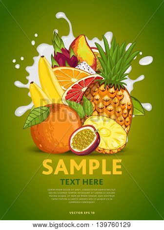 Ingredients for cooking fruits cocktail. Tropical fruits mix, isolated fruits on green background. Fresh fruits side view. Healthy fruits with milk splash. Bunch of fruits. Vegans food. Fruits background.