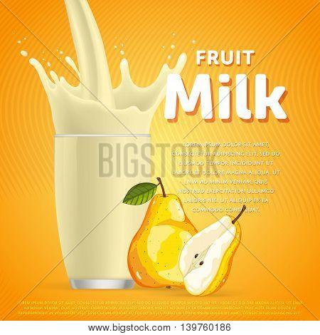 Pear sweet milkshake dessert cocktail glass fresh drink in cartoon vector illustration. Fruit milk splash. Milk cocktail dessert. Delicious drink. Glass of fruit milkshake. Sweet milk drink. Milk splash in a glass. Milkshake.