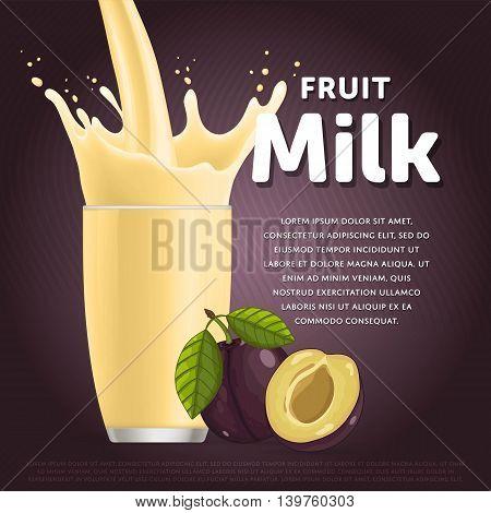 Plum sweet milkshake dessert cocktail glass fresh drink in cartoon vector illustration. Fruit milk splash. Milk cocktail dessert. Delicious drink. Glass of fruit milkshake. Sweet milk drink. Milk splash in a glass. Milkshake.