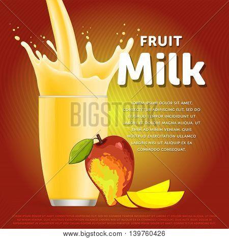 Mango sweet milkshake dessert cocktail glass fresh drink in cartoon vector illustration. Fruit milk splash. Milk cocktail dessert. Delicious drink. Glass of fruit milkshake. Sweet milk drink. Milk splash in a glass. Milkshake.