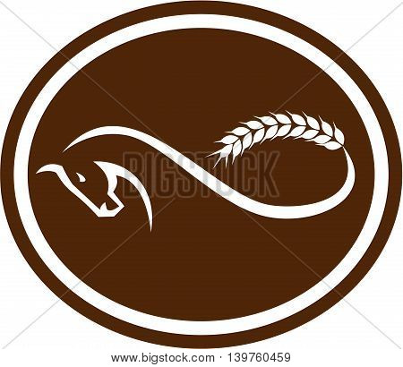 Illustration of a horse with malt wheat tail foring a mobius strip viewed from side set inside oval shape on isolated background done in retro style.