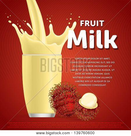 Rambutan sweet milkshake dessert cocktail glass fresh drink in cartoon vector illustration. Fruit milk splash. Milk cocktail dessert. Delicious drink. Glass of fruit milkshake. Sweet milk drink. Milk splash in a glass. Milkshake.