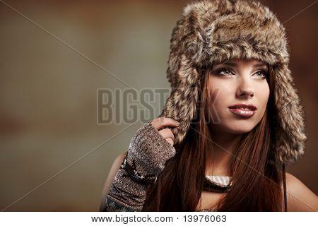 Beautiful woman in winter  coat.