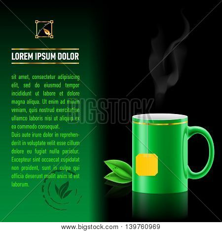 Green cup of tea spewing hot steam. Green leaf tea. Next sheet of paper with the test