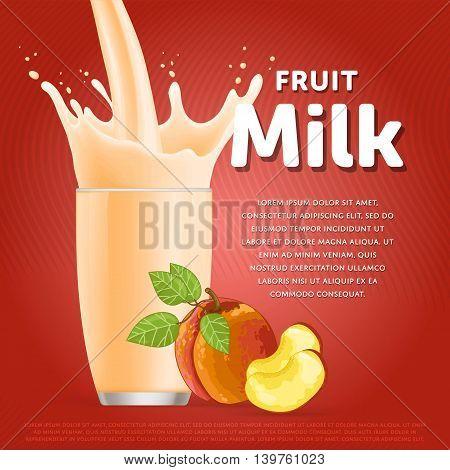 Peach sweet milkshake dessert cocktail glass fresh drink in cartoon vector illustration. Fruit milk splash. Milk cocktail dessert. Delicious drink. Glass of fruit milkshake. Sweet milk drink. Milk splash in a glass. Milkshake.