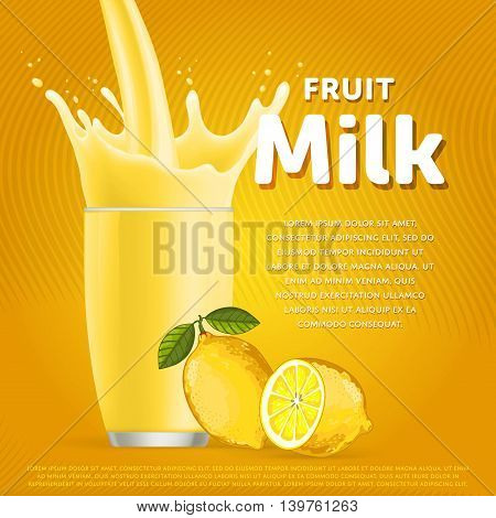 Lemon sweet milkshake dessert cocktail glass fresh drink in cartoon vector illustration. Fruit milk splash. Milk cocktail dessert. Delicious drink. Glass of fruit milkshake. Sweet milk drink. Milk splash in a glass. Milkshake.