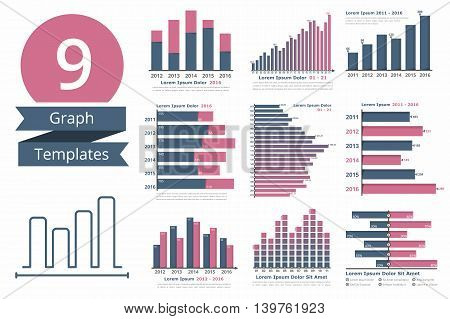 Graphs and charts templates for statistics or data visualization, set of 9 infographic templates for reports and presentations, vector eps10 illustration