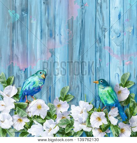 Floral watercolor white summer flowers and painted blue birds on wooden background
