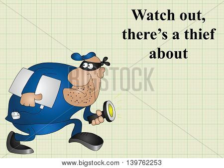 Watch out there is a thief about on graph paper background with copy space for own text