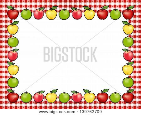 Apple Frame place mat, red and golden Delicious, green Granny Smith and Pink apple fruits, white center with copy space, gingham check border in red tablecloth pattern.