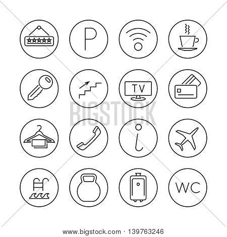 Hotel services line thin vector. Set of icons for hotel service, illustration signs parking and internet hotel services
