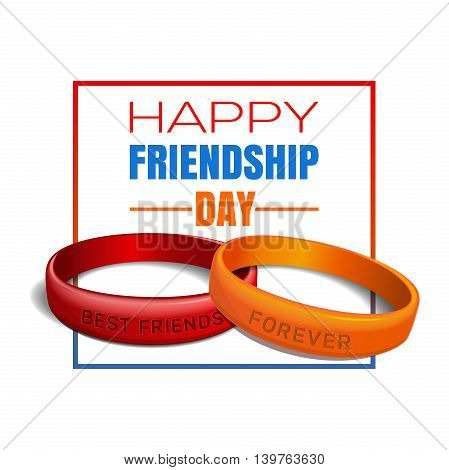 Friendship Day greeting card. Red orange friendship band and lettering - Happy Friendship Day. Typographic design. Vector illustration on a white background