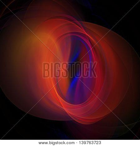 Abstract fantasy color splash on black background. Swirling red blue and orange fractal shape. 3D rendering