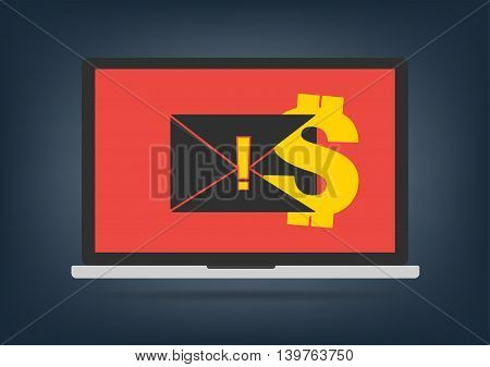 Computer laptop got blackmail ransom latter request money for paying importance data on desktop background. Vector illustration technology data privacy and security concept.