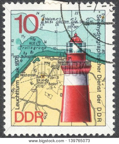 MOSCOW RUSSIA - JANUARY 2016: a post stamp printed in DDR shows the Leuchtturm Buk lighthouse the series