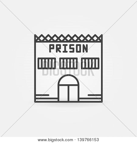 Prison building icon - vector simple linear jail symbol. Prison thin line minimal sign