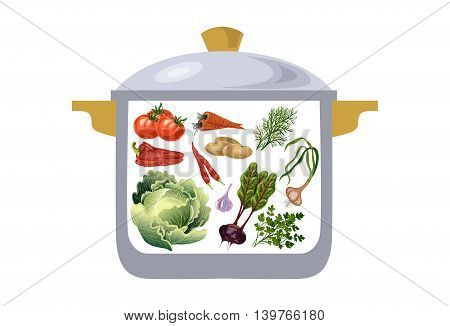 casserole with vegetables ingredients for preparation of borscht. Vector illustration