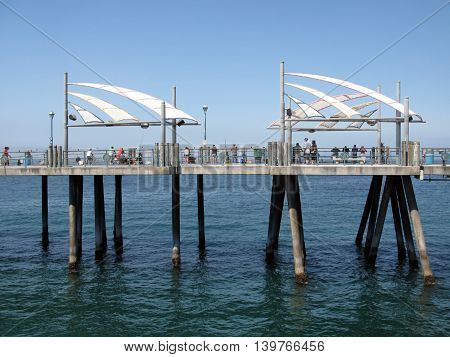 Blue sky and ocean at Redondo Beach Pier, Kings Harbor.