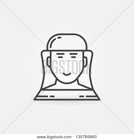 Beekeeper linear icon. Vector beekeeper or apiarist in hat symbol or logo element in thin line style. Beekeeping outline sign