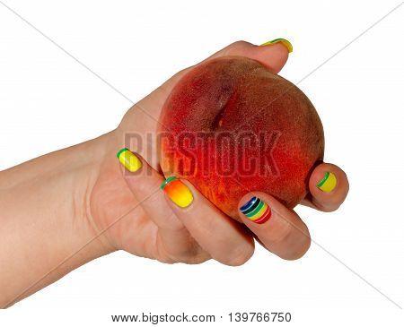 Female Hand With A Peach