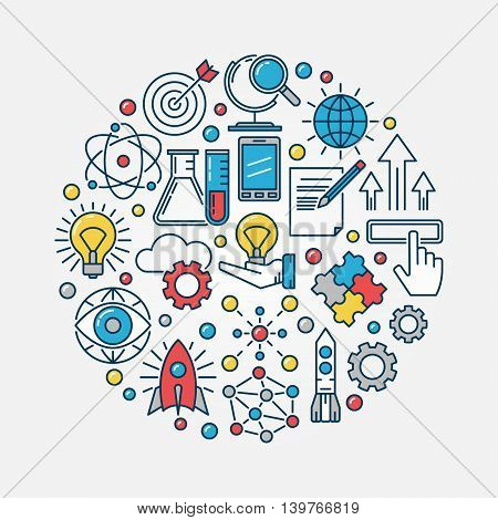 Innovation round flat illustration. Vector creative colorful technology symbol or innovation background