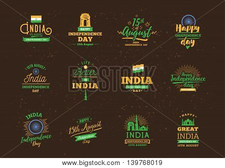India Independence day, 15th august. Vector typographic emblems, logo or badges. Usable for greeting cards, print, t-shirts, posters and banners