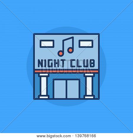 Night Club building flat icon - vector nightclub symbol or sign on blue background