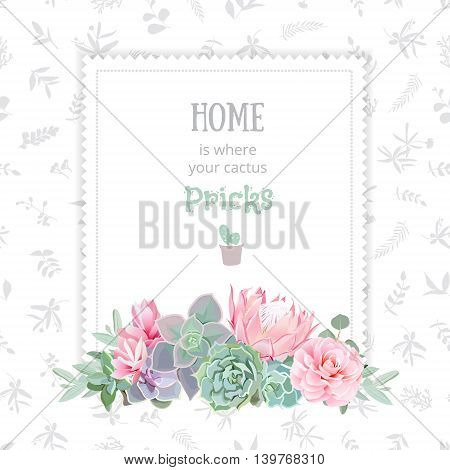 Green colorful succulents vector design square frame. Echeveria protea camellia eucaliptus. Natural cactus card in modern funky style. All elements are isolated and editable.