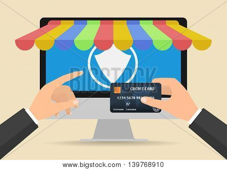 Businessman hands holding credit card for online shopping and secure payment for online store. Vector illustration business online shopping and online payment concept design.
