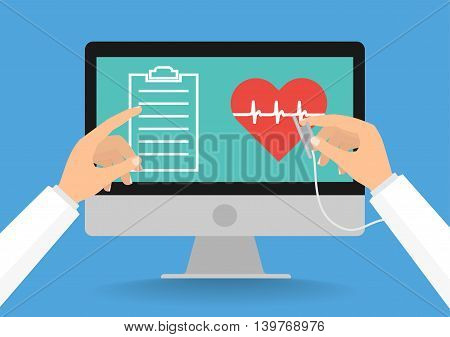 Doctor's hands with stethoscope and pointing computer screen for telemedicine concept on blue background. Vector illustration healthcare on internet of think technology trend.
