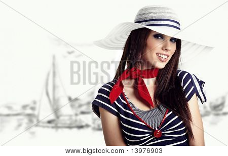 Woman and Sailor fashion style poster