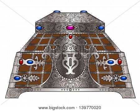 The old casket wrought silver and jeweled