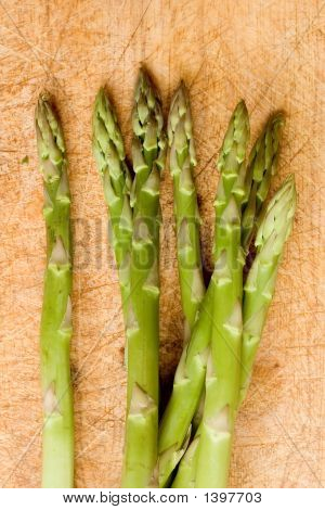 Asparagus Bunch On Chopping Board