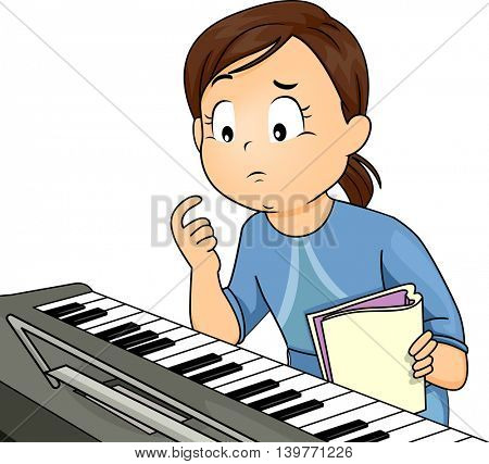 Illustration of a Confused Girl Learning to Play the Piano