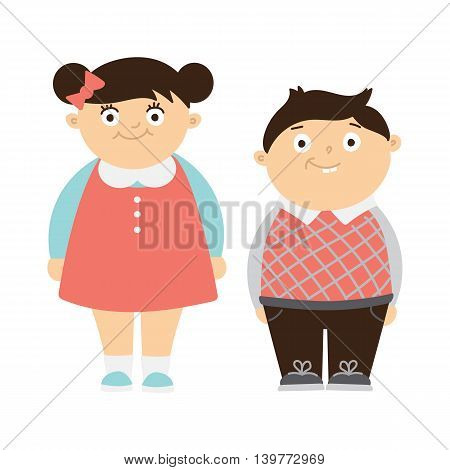 Funny chubby children on white background. Cute boy and girl smiling. Kids with bellies.