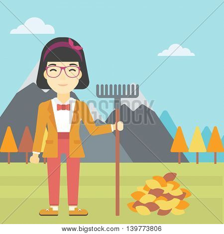 An asian young woman raking autumn leaves. Woman with rake standing near tree and heap of autumn leaves. Woman tidying autumn leaves in garden. Vector flat design illustration. Square layout.