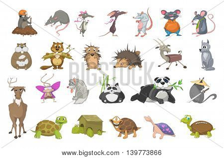 Set of animals - mole digging earth, rat drinking coffee, beaver gnawing log, panda eating bamboo, turtle with house and rugby ball instead of shell. Vector illustration isolated on white background.