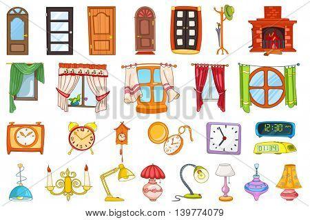 Set of entrance and interior doors, coat rack, windows, table lamps, alarm clocks, pocket clock, digital cllock, fireplace, chandelier, cuckoo-clock. Vector illustration isolated on white background.